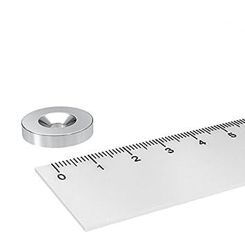 15 x 3 mm mit 3.5 mm Bohrung und Senkung 20 x Neodym Scheiben Magnet zum Einschrauben vernickelt