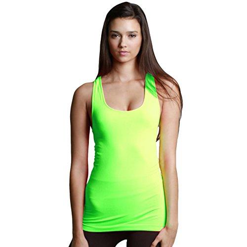 (Nikibiki Women's Plain Jersey Long Tank Top #1 Selling Signature 92% Nylon and 8% Spandex (Neon Green))