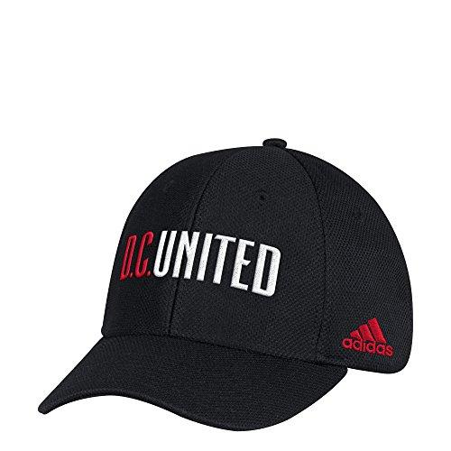 adidas MLS D.C. United Adult Men Wordmark Mesh Structured Adjustable Hat, One Size, Black
