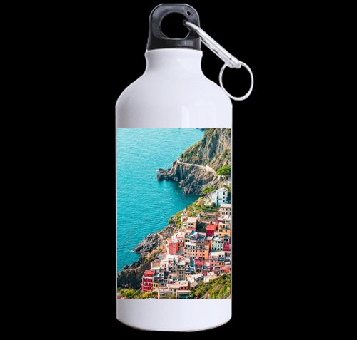 Flipped Summer Houses in Riomaggiore, Cinque Terre, Italy Customized Sports Water Bottle Art Printing Travel Cup Twin Sides by Flipped Summer