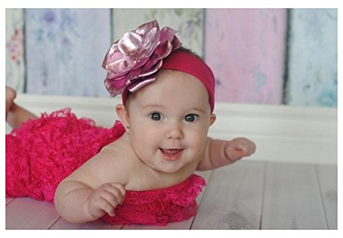 Jamie Rae Hats Raspberry Soft Headband with Metallic Pale Pink Rose, Size: 12m+