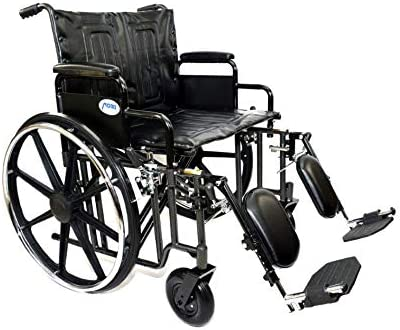 "Self Propelling Manual 22"" Seat Bariatric Wheelchair with Elevating Leg Rest and Dual Axle 500lbs Weight Capacity Detachable Desk Top Arms"