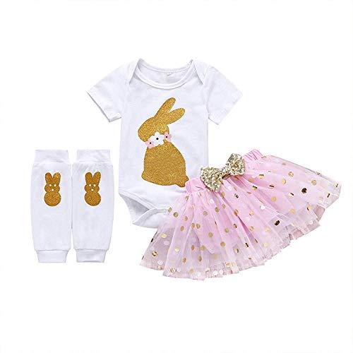 Baby Girls 3PCs Sets My 1st Easter Tutu Dress God Bunny Romper Short Slevee Bodysuit Legs Warmers (Pink, -