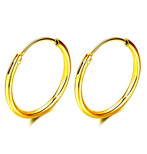 S925 Sterling Silver hoop earrings For Women Girls, Round Endless Fine Circle gold Plating Hoops earrings gift, All Sizes