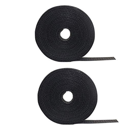 2 Pack Cable Fastening Tape Viaky 0.78 inch Single Wrap Hook & Loop Cable Ties Reusable Cord Length About 16.4 feet (5.47 Yards)/Roll - Black