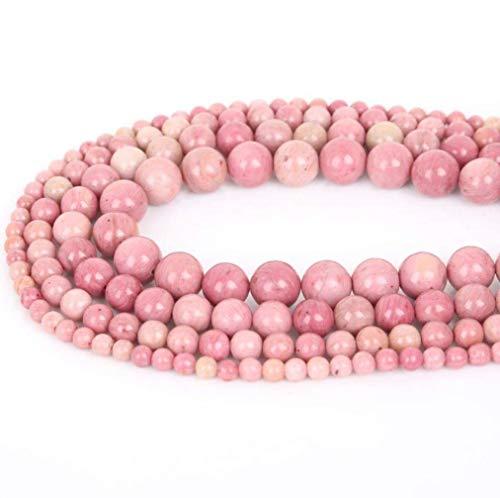8mm Natural Rhodochrosite Beads Semi Precious Gemstone Round Loose Stone Beads for Jewelry Making ()