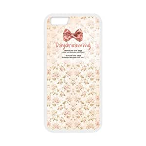 Pink Colour Bowknot in A Dreamlike World White Stylish Romantic Cover Case For Iphone 6 (4.7inch) with high-quality Plastic