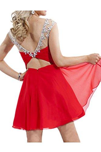 Prom Style Damen Attraktiv Chiffon Strass Ruckenfrei Abendkleider Ballkleider Cocktailkleider A-Linie Kurz Partkleider Tanzenkletder -L Rot