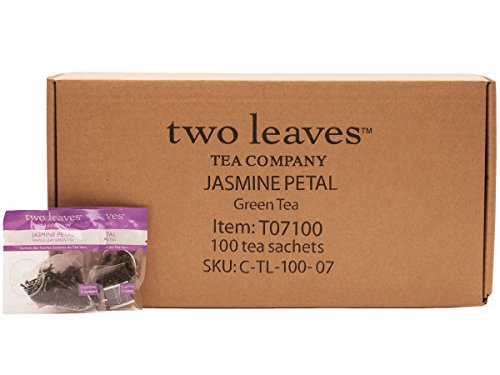 Two Leaves and a Bud Jasmine Petal Green Tea Bags, 100 Count, Whole Leaf Moderate Caffeine Green Tea in Pyramid Sachet Bags, Delicious Hot or Iced with Milk, Sugar, Honey or Plain