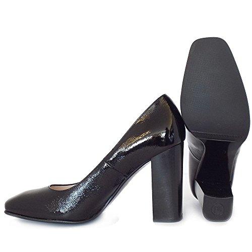 Zapatos De Corte Peter Kaiser Sandy Tacón Alto Bloque Tacón En Negro Patente BLK CRACKL