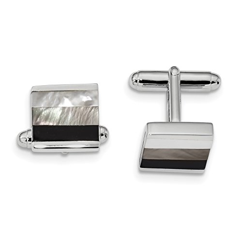 ICE CARATS 925 Sterling Silver Black Onyx White/grey Mop Cuff Links Mens Cufflinks Link Fine Jewelry Dad Mens Gift Set by ICE CARATS