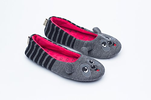 Pictures of Ofoot Womens Ballerina Fluffy Knit Scuff SlippersCute 1
