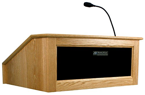 (AmpliVox SS3025 Victoria Tabletop Lectern with Sound System Non-Wireless, Walnut)