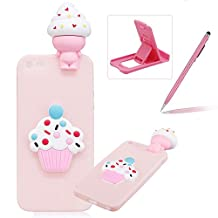 TPU Case for iPhone SE,Soft Rubber Cover for iPhone 5S,Herzzer Ultra Slim 3D Funny Ice Cream Series Design Scratch Resistant Shock Absorbing Flexible Silicone Back Case