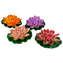 NAVA 4pcs Large Artificial Pink Purple Orange Floating Lotus Home Garden Pond Size: 4 pcs, Model: , Home/Garden & Outdoor Store