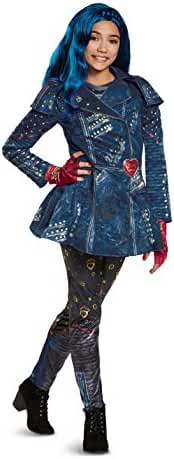 Disney Evie Deluxe Descendants 2 Costume, Blue, Medium (7-8)