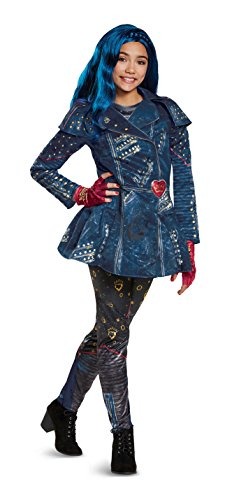 Costume 2 - Disney Evie Deluxe Descendants 2 Costume, Blue, Medium (7-8)