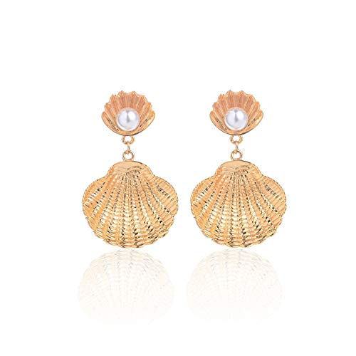 13 Style Sea Shell Earrings For Women Gold Silver Color Metal Shell Statement Earrings Summer Beach Jewelry,K