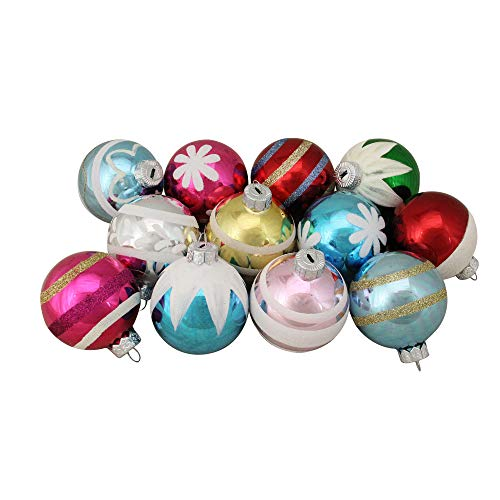 Northlight 12ct Frosted and Glittered Shiny Multi Color Christmas Ball Ornaments 2.5