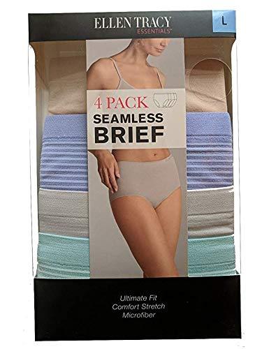 Ellen Tracy Essentials Womens Seamless Briefs 4-Pack Panties (Small, Beige, Purple, Gray, Green) ()