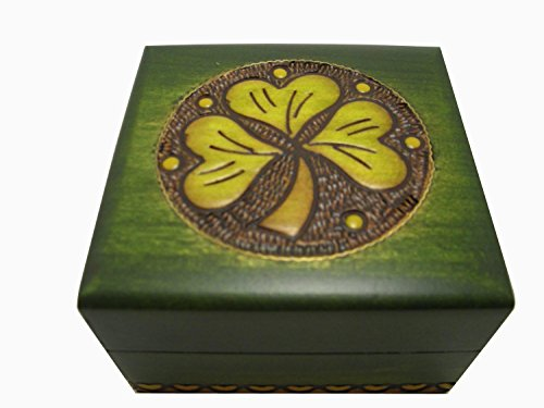 Handmade Shamrock Jewelry Cufflink Ring Box