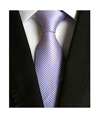 Circular Silk Tie - Men's Summer Pattern Ties in French Lavender Business Wedding Party Suit Necktie