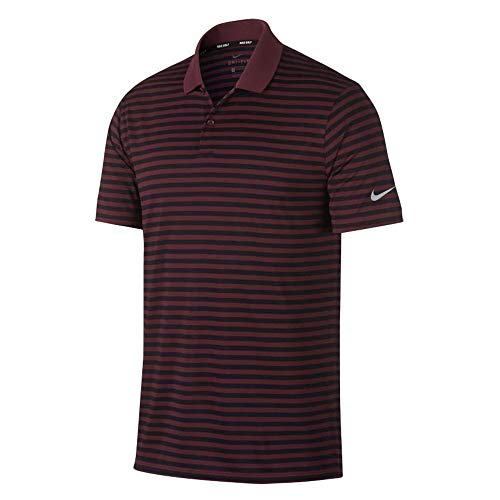 Maroon Striped Performance Polo - 1