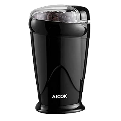 Aicok Electric Coffee Grinder Fast and Fine Fineness Coffee Blade Grinder Mini Spice Grinder for Coffee Beans, Spices, Nuts and Grains, 60g, 150W, Black by Aicok