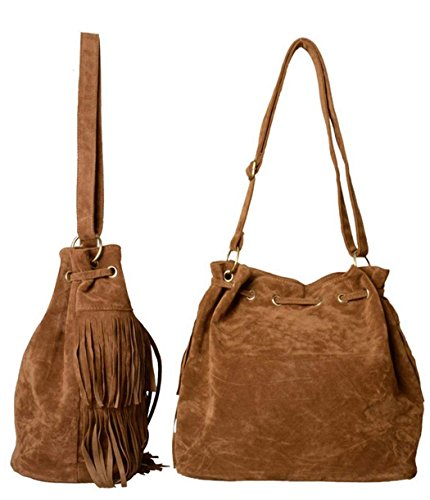 Bag Womens Shoulder Tassels Zeagoo body Suede Fringe Faux Cross Brown aWwqxqd87