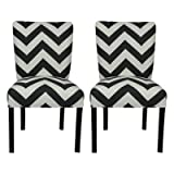 SOLE Designs Julia Collection Dining Chairs, A Set of 2 Upholstered Modern Dining Room Chairs, Side Chair, Zig Zag Grey Pattern Review