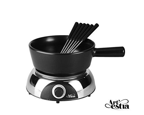 Artestia Electric Ceramic Fondue Set with 6 Fondue Forks (Glossy Base/Black Ceramic Pot) by Artestia (Image #1)