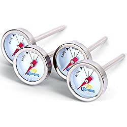 Corona Reusable Steak Button Thermometers - Set of 4 Stainless Steel Grill Accessory (Mini Thermometers)
