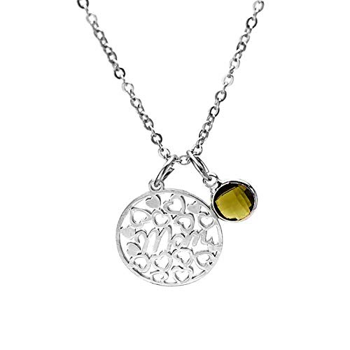 prettDliJUN Stainless Steel Pendant,Hollow Round Birthstone Inlay Necklace for Mothers Day November ()