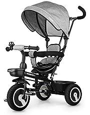Fascol 6 en 1 Tricycle pour Enfants avec Siège Pivotant Convient pour l'âge 12 Mois - 5 Ans Couleur (Gris)
