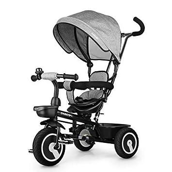9bf9611ec18597 Fascol Dreirad 6 in 1 Kinderdreirad Kinder Fahrrad Baby Kleinkinder mit  Lenkbarer Schubstange, mit FlüSterleise Gummireifen und Sonnendach für ...