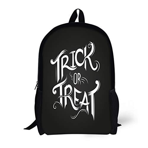Pinbeam Backpack Travel Daypack Text Trick Treat Halloween Fun Party Silhouette Autumn Waterproof School Bag ()