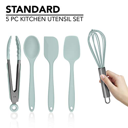 Country Kitchen Silicone Cooking Utensils, 5 Pc Kitchen Utensil Set, Easy to Clean Silicone Kitchen Utensils, Cooking Utensils for Nonstick Cookware, Kitchen Gadgets Set – Mint Green and Gunmetal