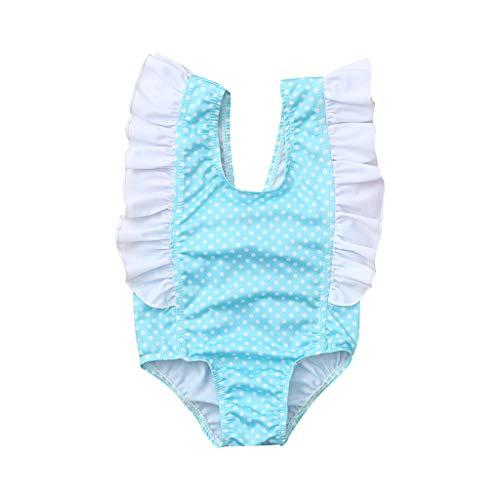 (Transser Girls One Piece Swimsuits Hawaiian Ruffle Swimwear Beach Bathing Suit Kids Swimming)