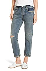 Distressed edges and frayed rips further the weather-beaten look of high-waist boyfriend jeans in a slim, cropped silhouette. High rise. Boyfriend Crop If between sizes, order one size up. Button Fly; Five-pocket style 100% cotton Wash: Norla...