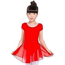 Molldan Girls Athletic Dance Dress Leotard Gymnastics Short Sleeve Skirt Dancewear