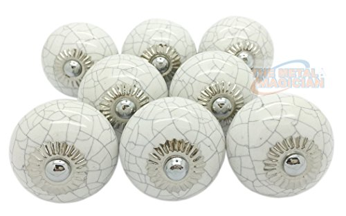 Ceramic Door Knobs Vintage Cupboard Drawer Pull Handles by The Metal Magician (White Crackle Ceramic)