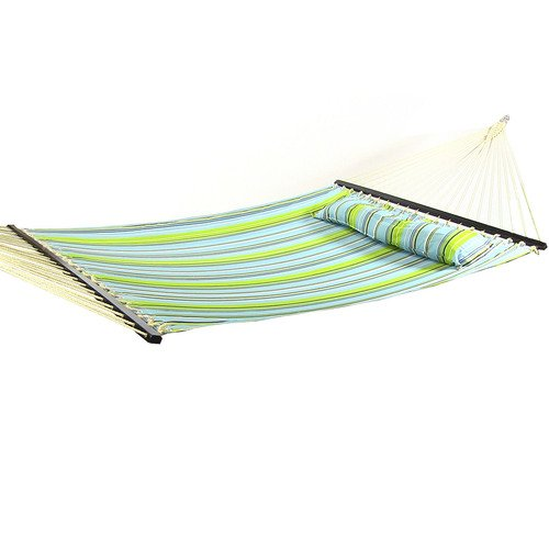 (Sunnydaze 2 Person Double Hammock with Spreader Bar, Quilted Fabric Bed - for Outdoor Patio, Porch, and Yard (Blue & Green) )