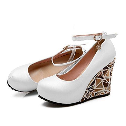 avec peu chaussures Couleur de Rose bouche chaussures de d'entrevue mariage chaussures simples femmes profonde Chaussures Blanc ALUK 3 pente pour mariage de taille épaisse déduction mot w0OnCx1z