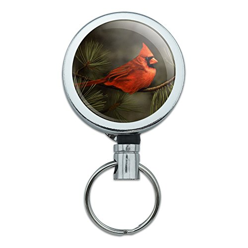 Northern Cardinal Red Pine Perch Heavy Duty Metal Retractable Reel ID Badge Key Card Tag Holder with Belt Clip