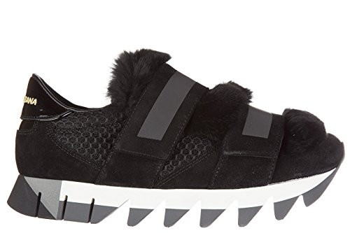 sneakers femme amp;Gabbana Noir baskets en noir cuir Dolce chaussures capri qaItwRA
