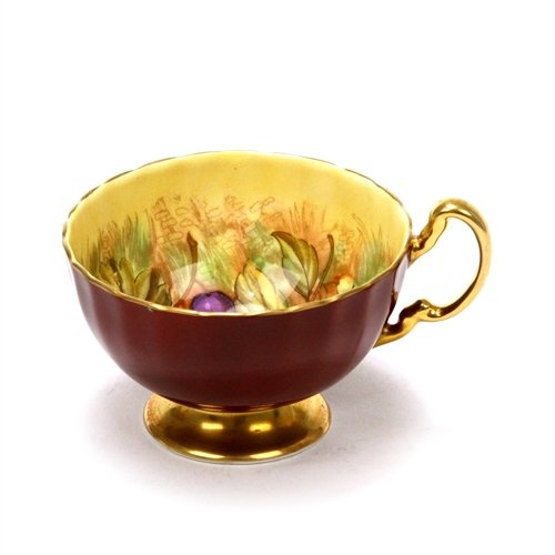 Cup by Aynsley, China, Fruit, Gold & Maroon
