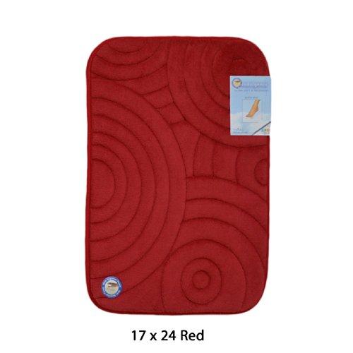 Swirls Seventeen Rug (Red Memory Foam Bath Mat/area rug: Non-skid, Absorbent, 17 X 24 or 20 X 30 (Circle Swirl, 17x24))