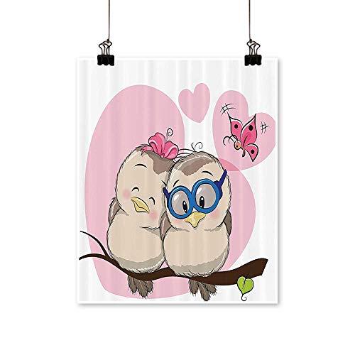 "Single paintingTwo Cute Carto Birds is Sitting Branch e Smiling Loving Valentine Bathroom Office Decorations,16"" W x 24"" L/1pc(Frameless)"