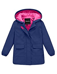 Wantdo Girl's and Boy's Hooded Rain Jacket Waterproof Fleece Lined Windbreaker