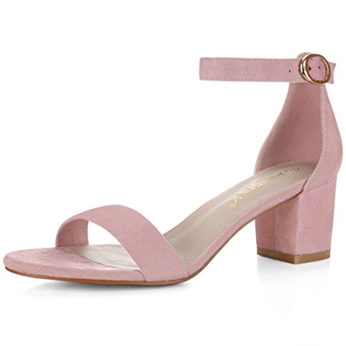 Pink Heels Shoes (Allegra K Women Mid Block Heel Ankle Strap Sandals (Size US 9) Light)